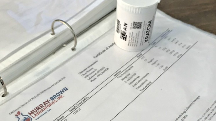 A lab report provided by Clean Kratom Wellness Center.